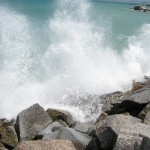 random shot of the waves in the wind in Langebaan
