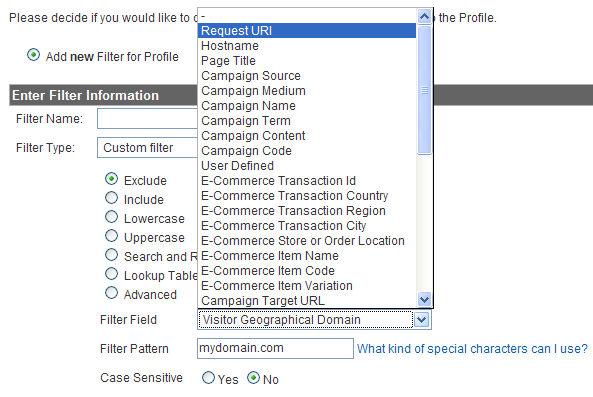 Custom Filter Details - Exclude Option and Request URI