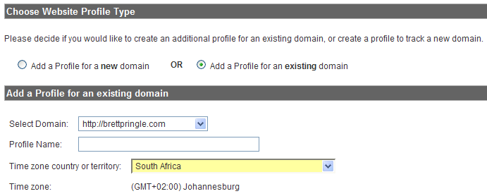 Add Website Profile options for new or existing domains