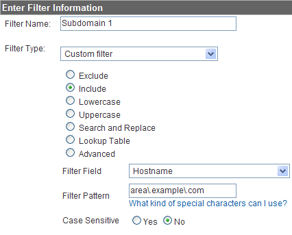 custom filter for subdomain website profiles